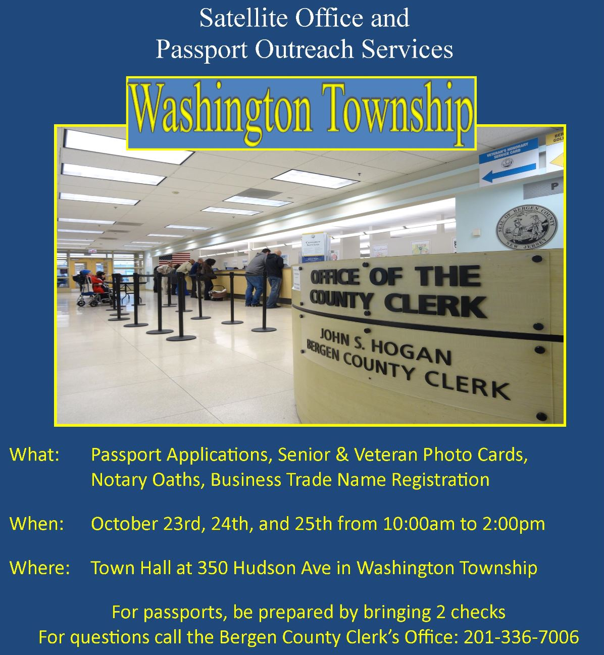 Township of washington home page the bergen county clerk will bring its community outreach temporary satellite office to the township of washington to process passport applications october reheart Choice Image